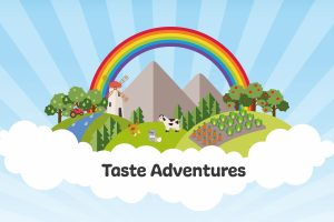 Taste adventures illustrated scene with farmland and crops growing on hills with a rainbow in the background